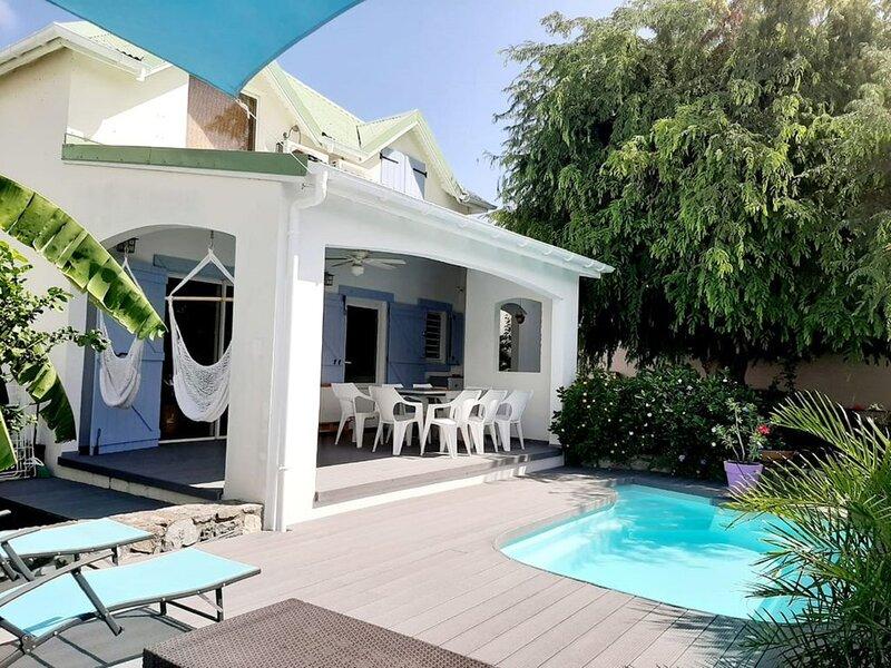 Villa Intimiste Casa Del Tamaris , 10 mn a pied plage de la Bo, Mont Vernon 1, aluguéis de temporada em Cul de Sac