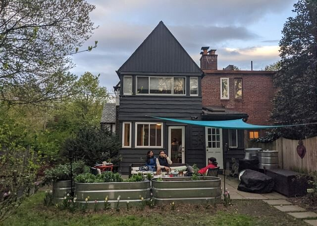 back deck, fire pit, shade, vegetable garden