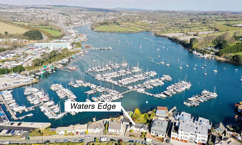 Waters Edge is situated near the marina and has views across the river. Aerial photo, April 2021