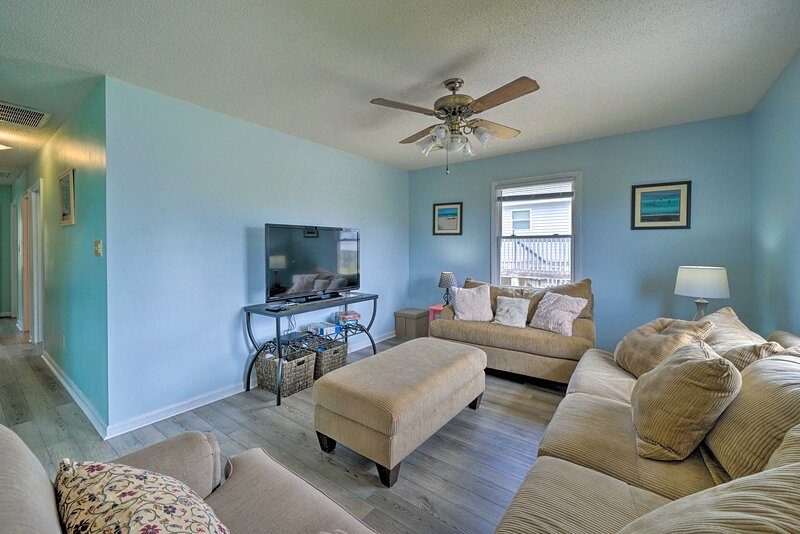 Lounge in the living room after a trip to the beach 1 block from this home!