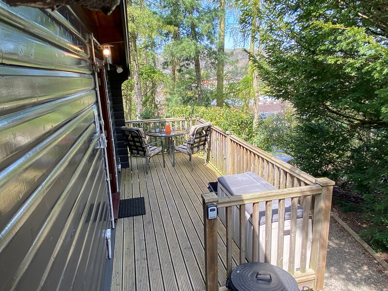 Private deck with outdoor heater and views over the town and the Shropshire Hills