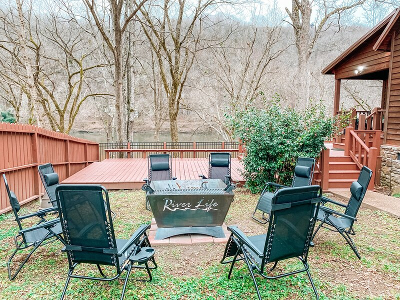 Large fire pit area overlooking the White River.