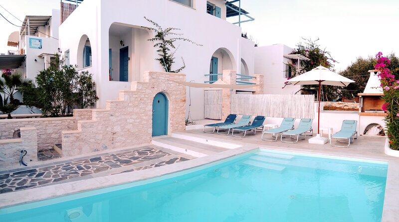 Villa Danae • Seaside 2-storey villa with pool, jacuzzi, bbq & terrace, casa vacanza a Paros
