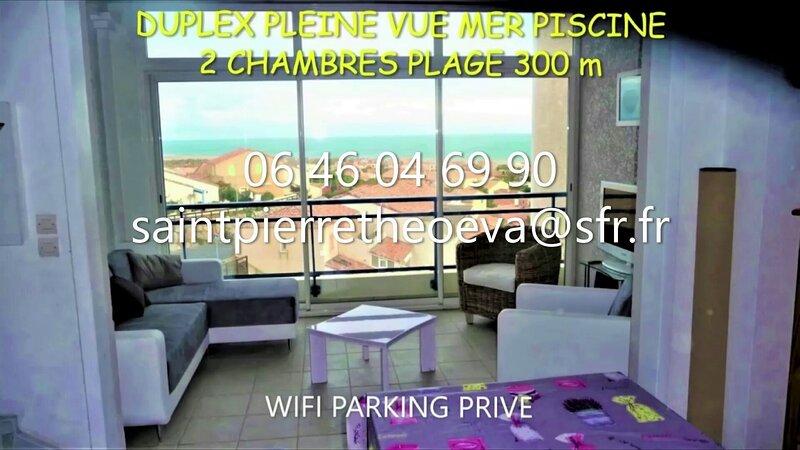 DUPLEX PISCINE PLEINE VUE MER PLAGE 300 m WIFI PARKING AU CALME, location de vacances à Fleury