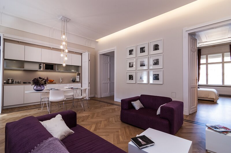 Karoly Premium Deco Suite, WiFi, AC, 2 BR, 2 BA next to Great Synagogue, holiday rental in Budapest