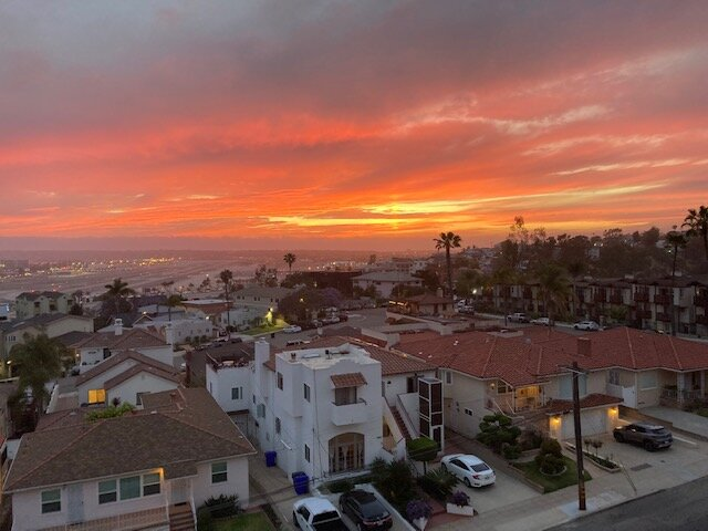 Nice sunset view from the balcony of the bay and Pt. Loma!