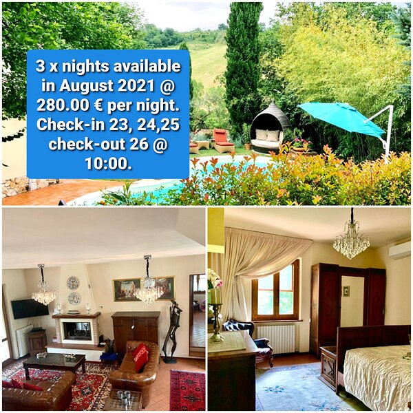 3 x nights August 2021 Villa Louise Umbria. Privacy.Safety.Pool.  Comfort.