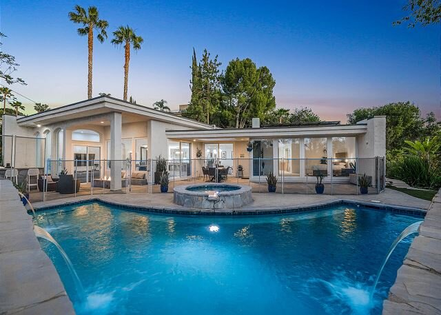 Encino Hills | Pool & Hot Tub | Koi Pond, Patio with Outdoor Kitchen, holiday rental in Topanga