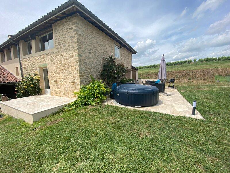 Maison viticole rénovée avec vue panoramique, holiday rental in Sauveterre-De-Guyenne