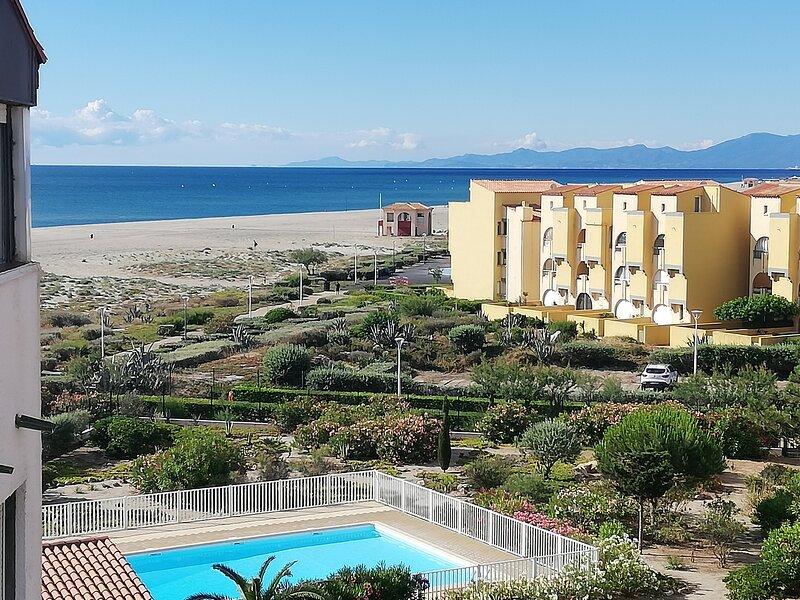 Vue mer/montagne/parc, accès direct plage, parking+box, très calme, expo sud. – semesterbostad i Port Leucate