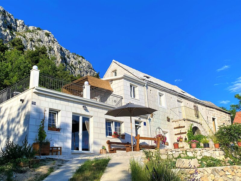 Villa OLE, stone house with the sea view and jacuzzi, alquiler de vacaciones en Jesenice