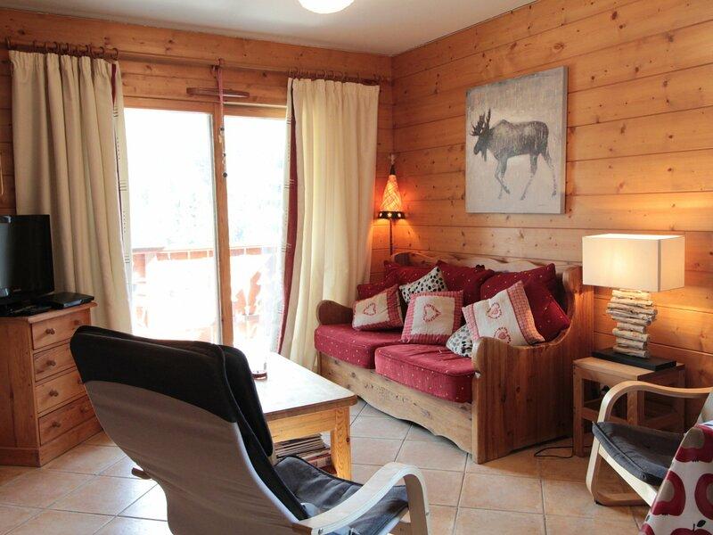 2pièces 6pers cosy: bien équipé face au spa et au ski bus, location de vacances à Magland