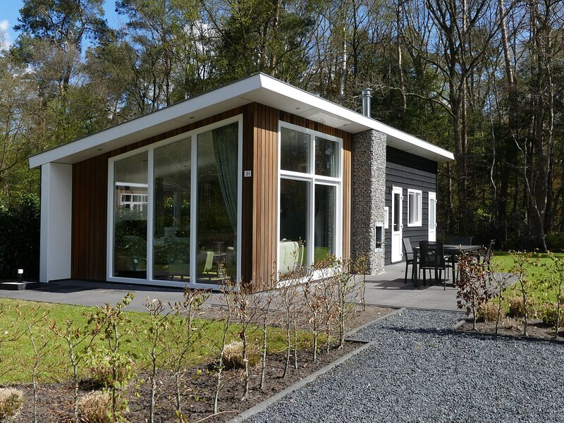 Modern chalet with outdoor fireplace at the forest, holiday rental in Zwolle