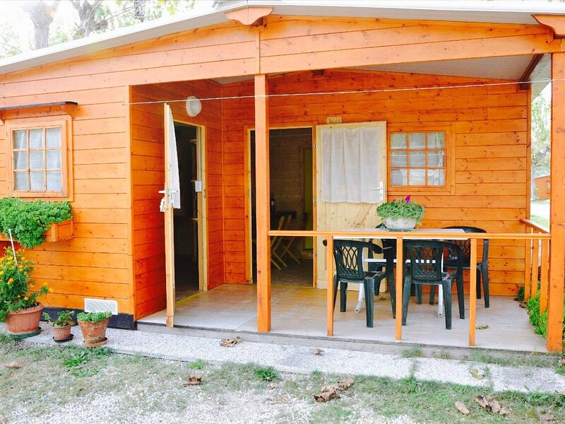 Wooden chalet with terrace in an area near the sea, holiday rental in Lido di Dante