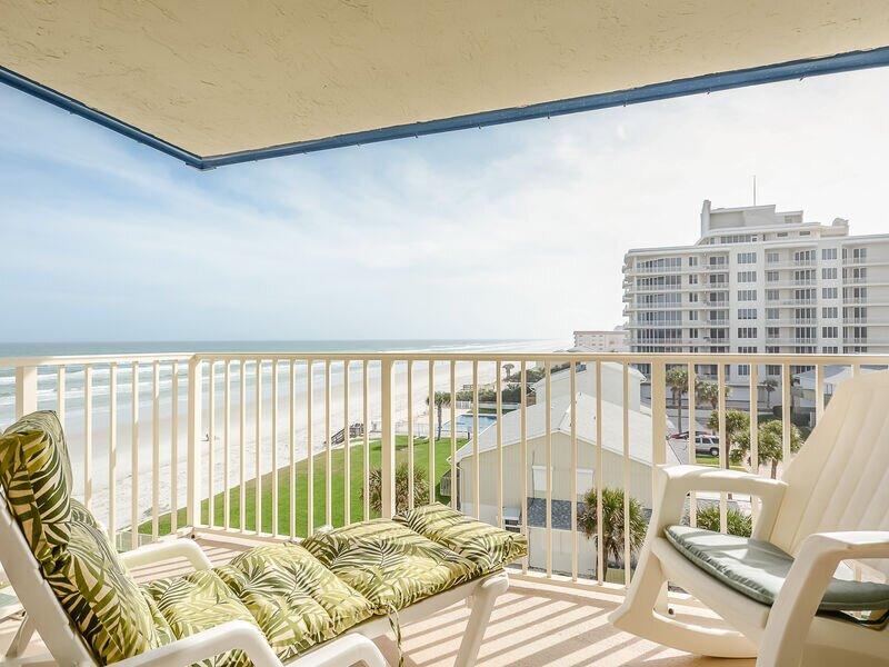 Balcony with Ocean Views and Seating at Hacienda del Sol 508