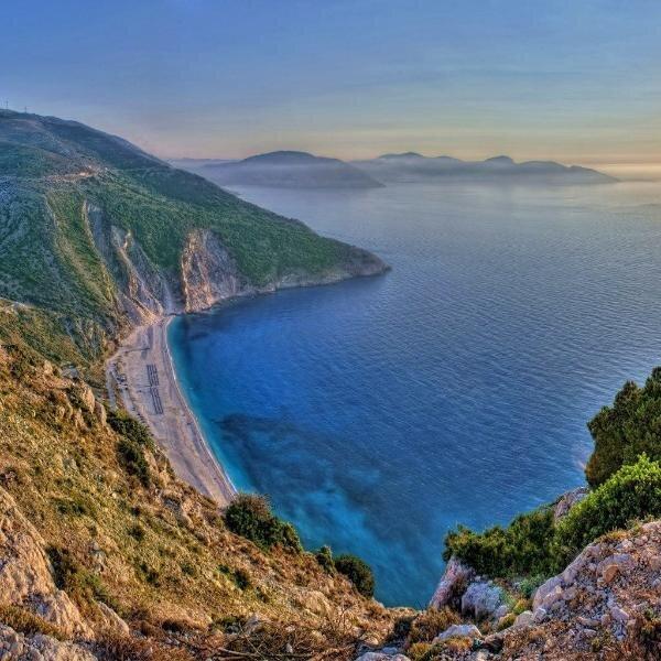 Myrtos bay beach.