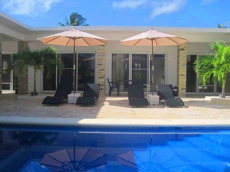 6BD oceanfront villa with pool, right on a long stretch of sandy beach, location de vacances à Gaspar Hernandez