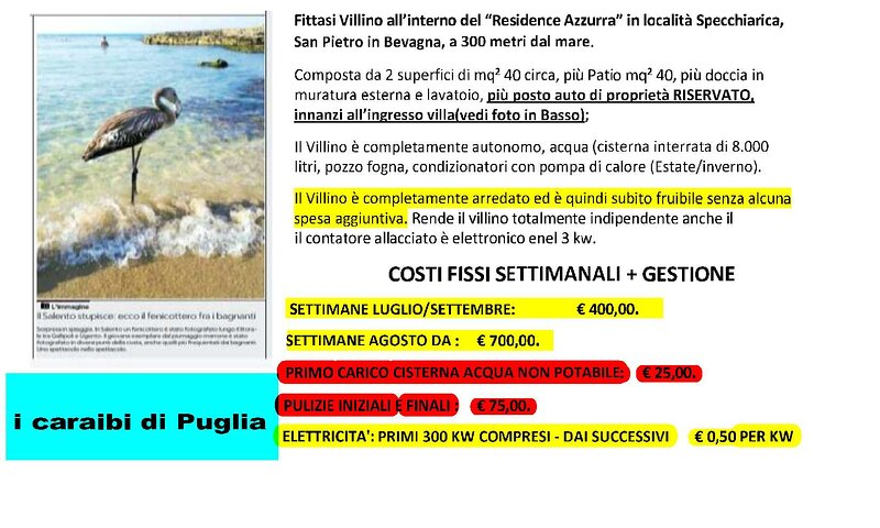 Villino indipendente in Residence a 300 mt dal mare, holiday rental in Avetrana