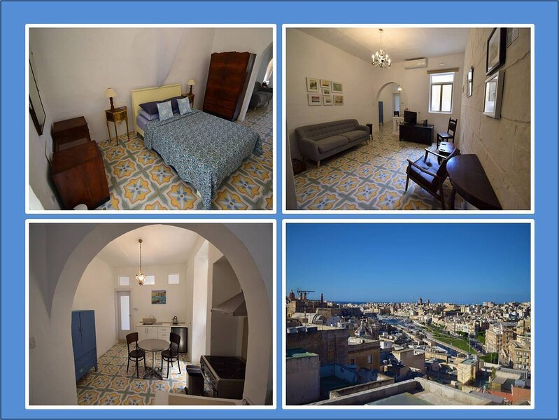 Boutique apt with local charm - water views & A/C, holiday rental in Paola