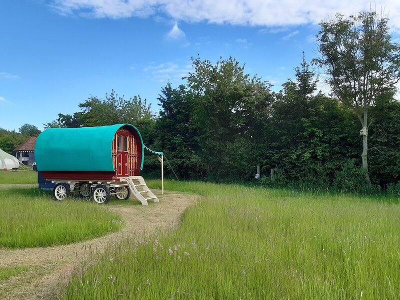 Gypsy Wagon at Oakwood Glamping in West Sussex with fire pit, holiday rental in Westbourne