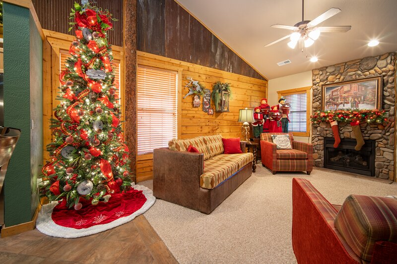 Cozy Christmas Living Room with Gas Fireplace