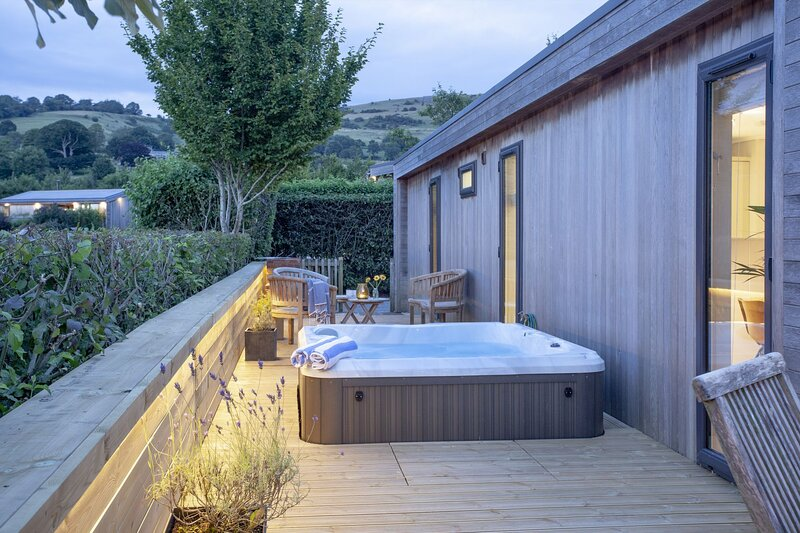 The Willows, Strawberryfield Park - A fabulous eco-lodge with wraparound deck an, alquiler de vacaciones en Cheddar