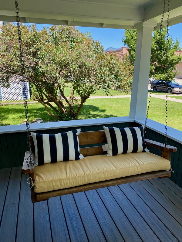 Covered porch and porch swing for 2