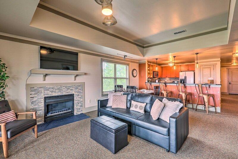 "Living Area | 55"" Roku Smart TV | Gas Fireplace | Amazon Echo Dot"