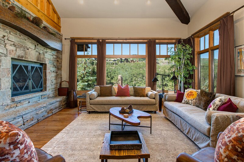 Living Room on Main Level, Fireplace, Smart TV/DVD with Cable, Private Deck, and Great Mountain Views