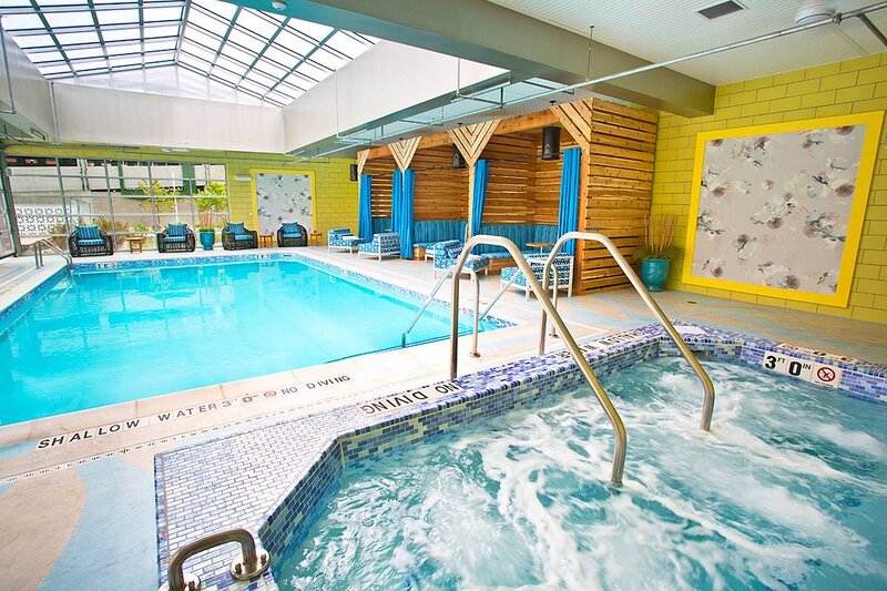 Enjoy a soak in the hot tub or swimming in the indoor/outdoor pool