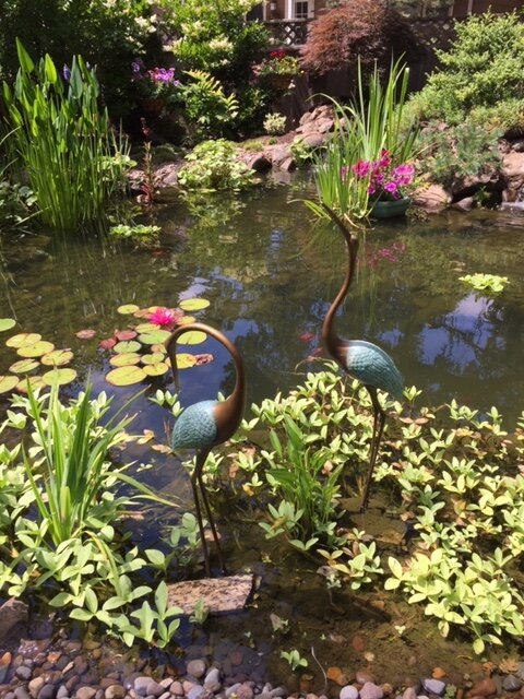 Sculptured heron in pond