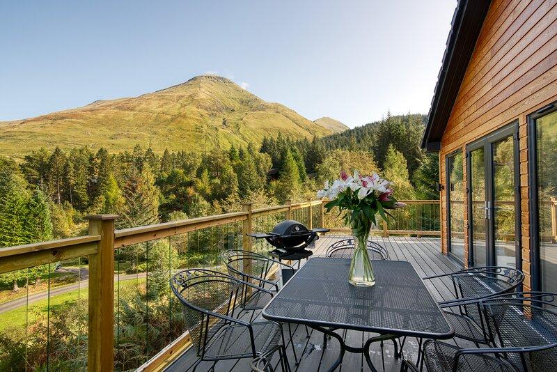Stunning 5 star chalet with loch views, holiday rental in Crianlarich