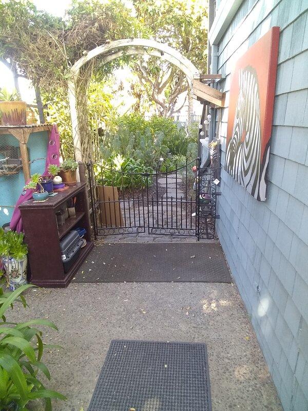 Private gate going into studio yard.