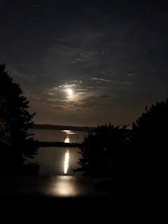 Full moon reflected on the water.