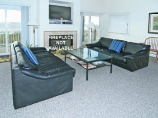 Living room has queen sleeper sofa