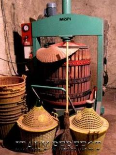 Chianti wine flasks and an old fashioned grape crusher
