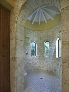 Polished Coral Shower in Master Bath