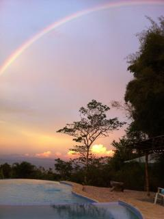 Rainbow over the pool