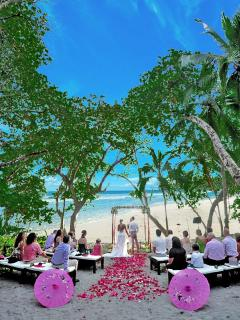 This is your perfect beach front wedding choice.. No shuttling guests because you're on the beach.