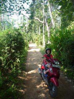riding the jungle roads behind the Beach House
