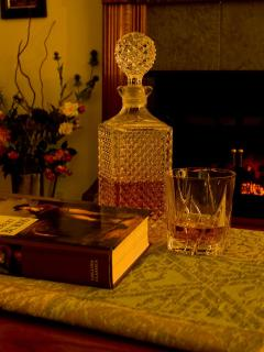 Crystal decanter of Scotch and a Robert Louis Stevenson novel to get you in the mood for your stay