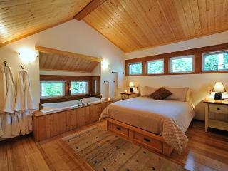 The Cabin: Soaker Tub for Two by the the queen size pillow-top bed.