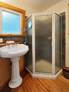 The Cabin: Bathroom with shower for those too busy for the Soaker Tub for Two!