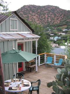 Doublejack private deck with views of Old Bisbee and into Mexico