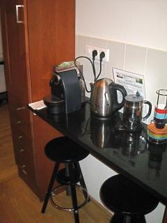 The Nespresso bar in the kitchen