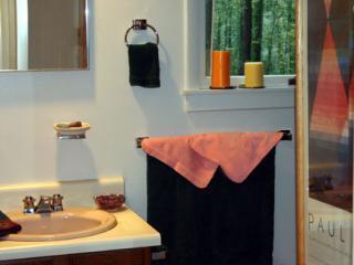 Tweede bad met uitzicht op beboste