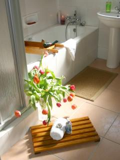 Family bathroom with separate shower, bath, basin and toilet.