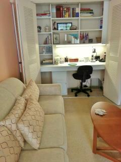 Work at custom built work space in private study &  hides away in closet