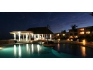Condominium pool at night
