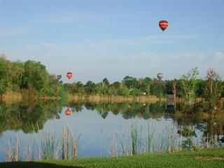 WOW ..........  your morning view of Hot Air Balloons over the lake!!!